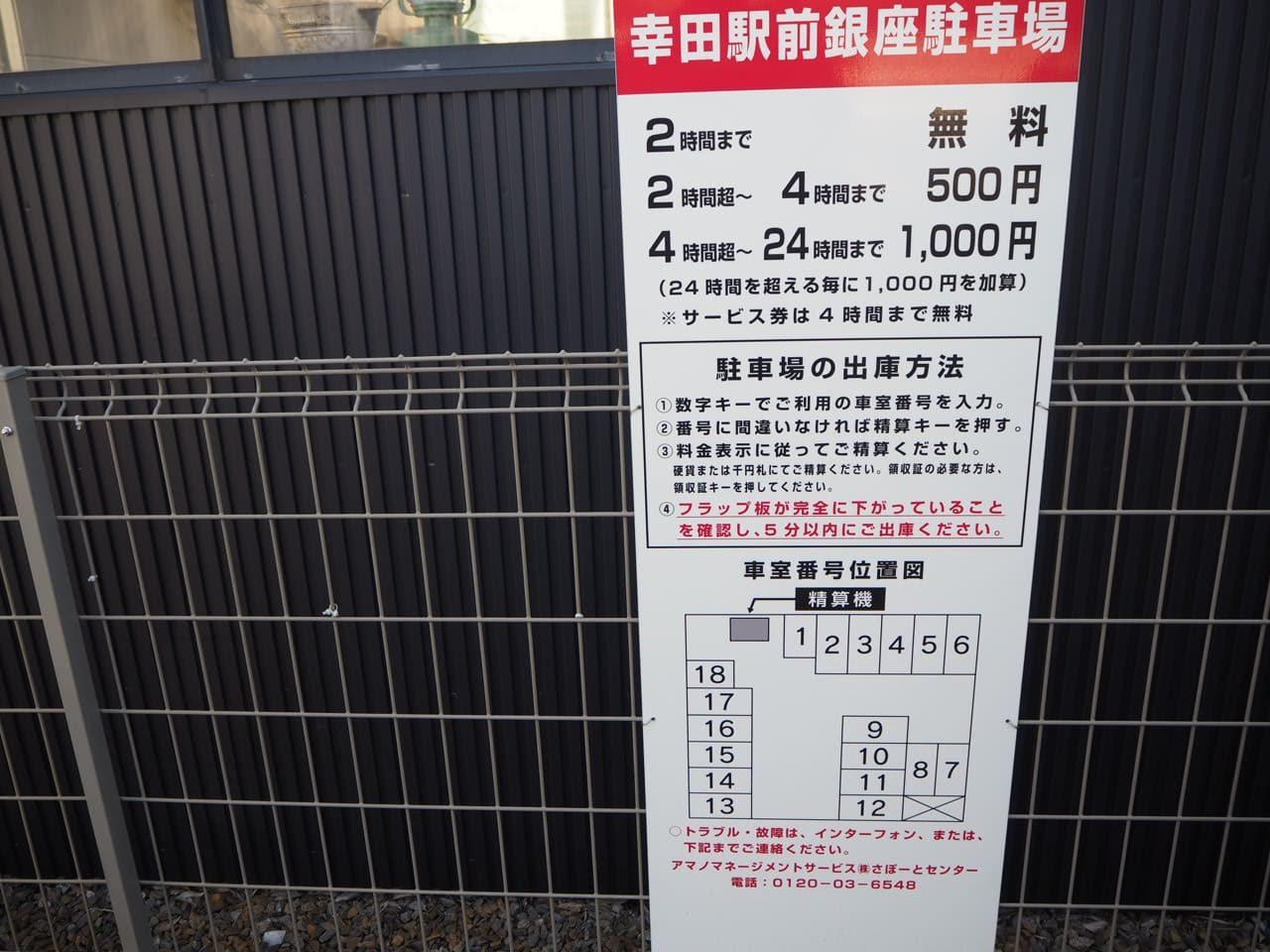 幸田駅前銀座の駐車場